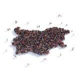 De mensen groeperen vormkaart Bulgarije Stock Afbeelding