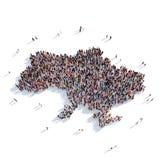 De mensen groeperen vormkaart de Oekraïne Stock Afbeeldingen