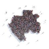 De mensen groeperen vormkaart Gabon Stock Fotografie
