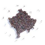 De mensen groeperen vormkaart Kosovo Stock Fotografie
