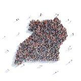 De mensen groeperen vormkaart Oeganda Royalty-vrije Stock Foto's