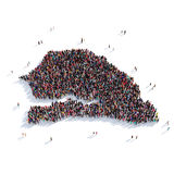 De mensen groeperen vormkaart Senegal Royalty-vrije Stock Afbeelding