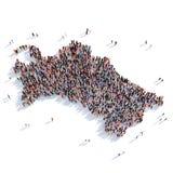 De mensen groeperen vormkaart Turkmenistan Stock Afbeelding