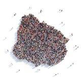 De mensen groeperen vormkaart Uruguay Royalty-vrije Stock Afbeeldingen