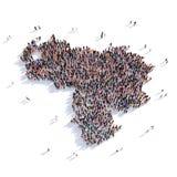 De mensen groeperen vormkaart Venezuela Royalty-vrije Stock Afbeelding