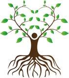 De mensen houden van boom met wortels Stock Afbeelding