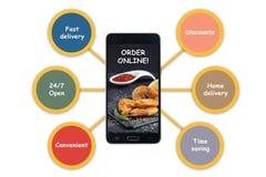 De mensen houden van online voedsel opdracht gevend tot vraag conceptueel beeld met royalty-vrije illustratie