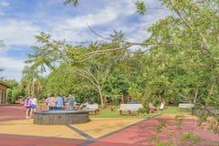 De mensen in Iguazu parkeren Ingang Royalty-vrije Stock Fotografie