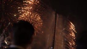 De mensen letten vuurwerk op vertoning stock video
