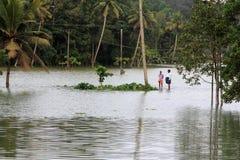 De mensen lopen door de overstroomde landbouwbedrijven royalty-vrije stock afbeelding