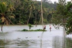 De mensen lopen door de overstroomde landbouwbedrijven stock afbeeldingen