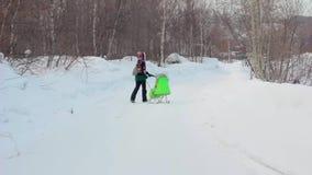 De mensen lopen in het de winterhout stock video