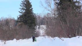 De mensen lopen in het de winterhout stock videobeelden