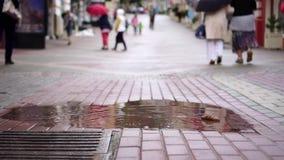 De mensen lopen in de stad in de regen stock footage