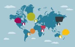 De mensen met toespraakbellen op Wereld brengen in kaart royalty-vrije stock afbeeldingen