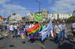De mensen met vlaggen en banners treden in de kleurrijke Vrolijke de trotsparade van Margate toe Stock Fotografie