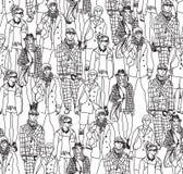 De mensen naadloos patroon van de maniermenigte Stock Foto