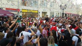 De mensen in nationaal het voetbalteam van Peru dragen stock footage