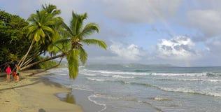 De mensen nemen een oceaanbad op 31 December, 2016 Grande Anse D ` Arlet, Marti Stock Afbeelding