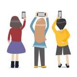 De mensen nemen foto's met smartphone Stock Foto's