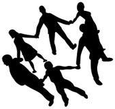 De mensen omcirkelen silhouet Stock Afbeelding