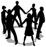 De mensen omcirkelen silhouet Royalty-vrije Stock Afbeeldingen