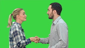 De mensen ontmoeten en schudden handen op het Groen Scherm, Chromasleutel stock footage