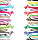 De mensen overhandigen als hart verenigde naadloze achtergrond. Stock Fotografie