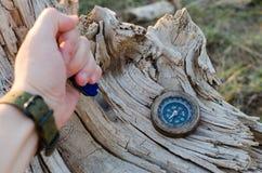 De mensen` s hand houdt een mes voor overleving in een oude, droge boom, naast een kompas wordt geplakt dat stock fotografie