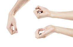 De mensen` s hand op witte verschillende achtergrond wordt geïsoleerd, stelt, overhandigt de hMan die hand van ` s op witte achte Royalty-vrije Stock Foto's