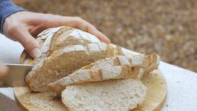 De mensen` s handen snijden een brood van brood stock videobeelden