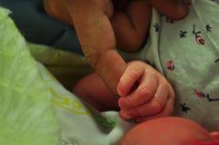 De mensen` s vinger houdt een baby` s hand Royalty-vrije Stock Afbeeldingen
