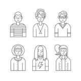De mensen schetsen grijze pictogrammen vectorreeks (mannen en vrouwen) Minimalisticontwerp Deel  Stock Afbeelding