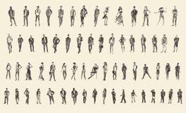De mensen schetsen, Vectorillustratie, Handtekening Stock Fotografie