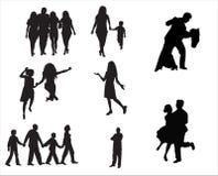 De mensen silhouetteren Stock Afbeeldingen