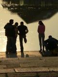 De mensen silhouetteren Stock Afbeelding