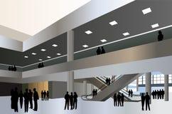 De mensen silhouetteren in commerciële centrumvector Stock Afbeeldingen