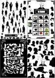 De mensen silhouetteren, schoenen, hoofden Stock Afbeeldingen