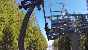 De mensen ski?en, hoge sparren op de helling, zonnige dag stock videobeelden