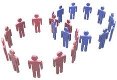 De mensen sluiten zich aan fusie bij sociale twee cirkels Royalty-vrije Stock Foto's