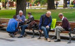 De mensen spelen schaak en kaarten royalty-vrije stock afbeelding