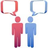 De mensen spreken in 3D sociale media toespraakbellen Stock Foto