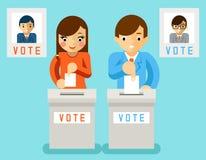 De mensen stemmen voor kandidaten van verschillende partijen Stock Foto