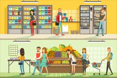 De mensen in supermarkt horizontale kleurrijke banners plaatsen, klanten die en producten kopen winkelen vector illustratie