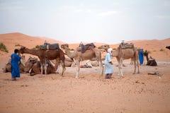 De mensen van Berber met kamelen stock afbeelding