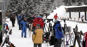 De mensen van Biathlon Stock Foto's