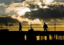 De mensen van de bouw silhouetteren royalty-vrije stock foto