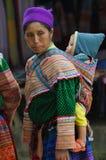 De mensen van de Hmongminderheid in traditionele kleding Sapa, Noordelijke Viet Royalty-vrije Stock Afbeelding