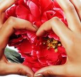 De mensen van de manicurepedicure overhandigen concept, namen de vrouwenvingers in roze vorm die van hart bloemen houden toe Royalty-vrije Stock Foto's