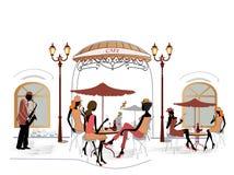 De mensen van de manier in koffie royalty-vrije illustratie